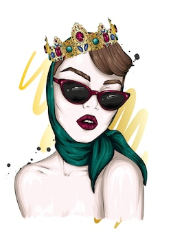 Portrait of a beautiful girl in a crown