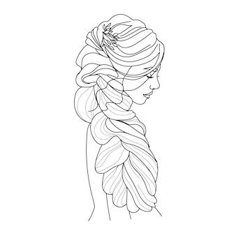 뷰티 살롱 벡터 일러스트 레이 션에 대 한 긴 머리 유행 로고와 함께 초상화 아름 다운 여자