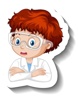 Portrait of a boy in science gown cartoon character sticker