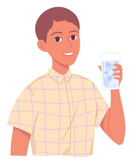 Portrait of boy with glass of water.