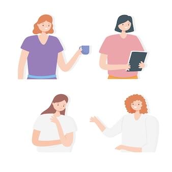 초상화 만화 여성 팀 동료 캐릭터.