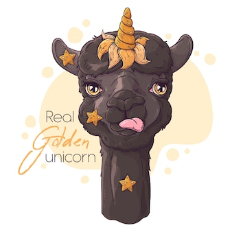 Portrait of cute alpaca with unicorn horn.