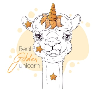 Portrait of cute alpaca with unicorn horn