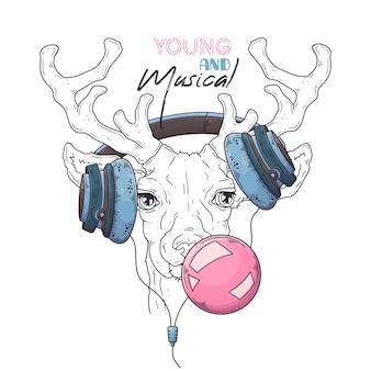. portrait of cute deer in musical headphones inflates a bubble of gum.