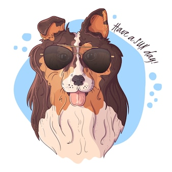 Portrait of a cute dog in glasses.