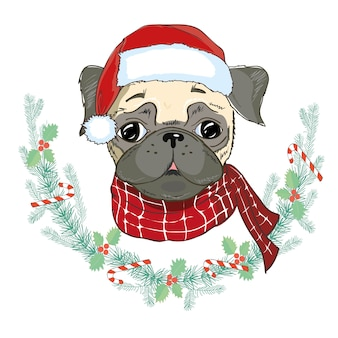 Portrait of cute french bulldog in red christmas hat. santa claus christmas.