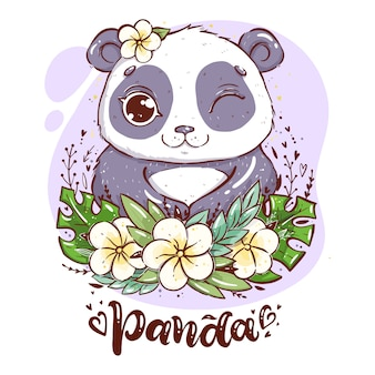 Portrait of a cute panda with tropical leaves and flowers, panda with a flower near the ear with hand lettering word panda
