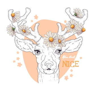 Portrait of deer with daisies.