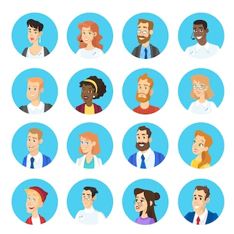 Portrait of different character set. collection of face avatar with various hairstyle. man and woman head.    illustration