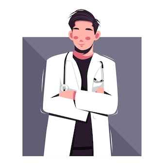 Portrait of doctor flat vector illustration