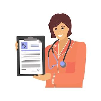 Portrait of a doctor holding an rx prescription form closeup