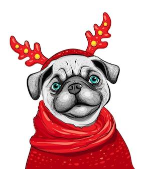 Портрет собаки мопса в оленьих рогах, красных очках, красном шарфе. симпатичные швабры, векторные иллюстрации.