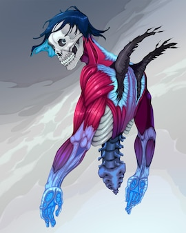 Portrait of a fallen angel with skull face. vector horror illustration.