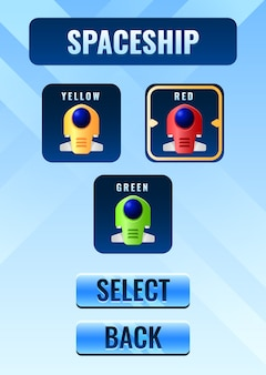ポートレートファンタジーゲームui宇宙船選択ボードポップアップインターフェイス