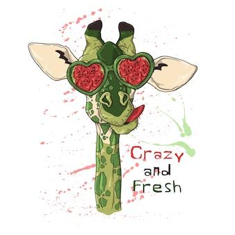 Portrait of a giraffe in glasses under the effect of watermelon.
