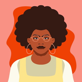 Portrait of girl flat illustration