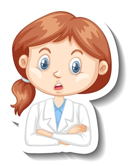 Portrait of a girl in science gown cartoon character sticker