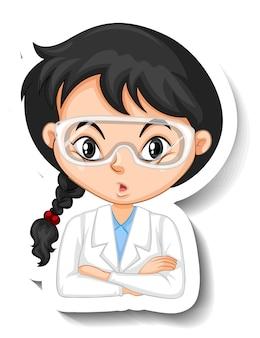 Ritratto di una ragazza in abito scientifico personaggio dei cartoni animati adesivo