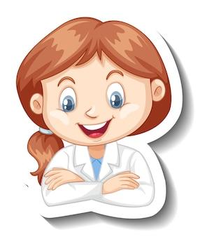 Ritratto di una ragazza in abito da scienze adesivo personaggio dei cartoni animati