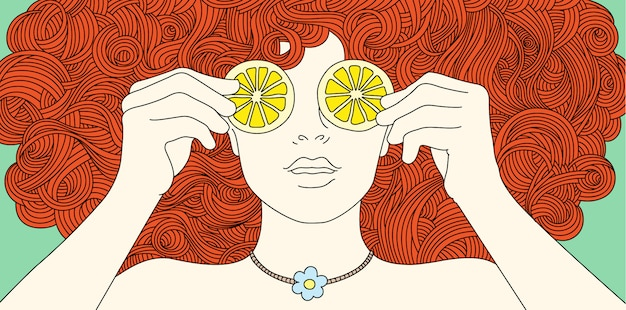 Portrait girl with curly red hair, covered her eyes with lemon.