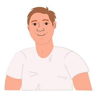 Portrait of happy smiling strong man avatar of funny stylish male character vector illustration