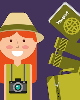 Portrait happy woman vacations passport binoculars and suitcase