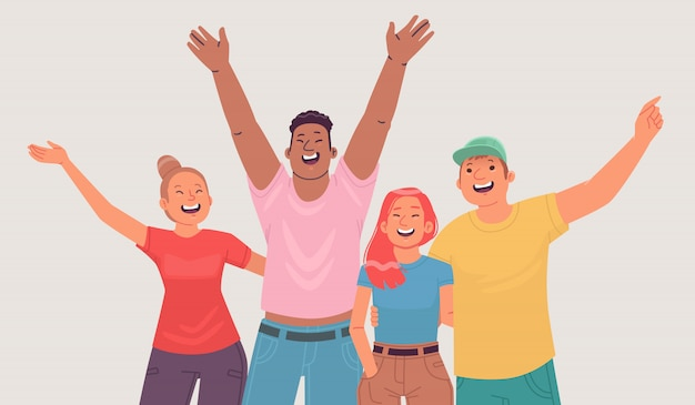 Portrait of happy young people. cheerful friends, friendly company shows joyful emotions. students or graduates of the school. vector illustration in flat style