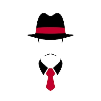 Portrait of italian man in black vintage hat and red tie
