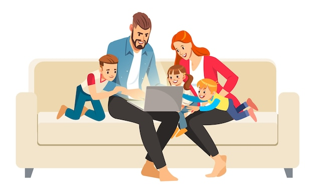 Portrait of a jolly family using a laptop sitting on sofa at home