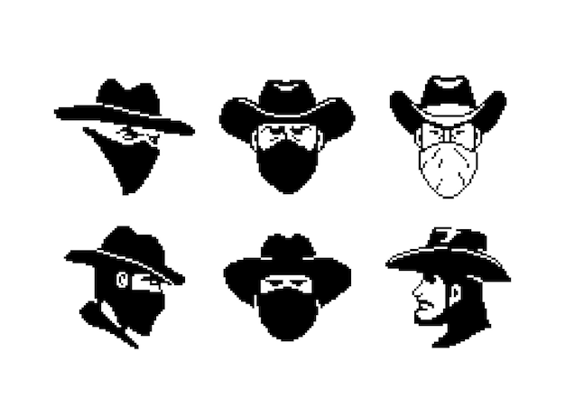 Portrait of a man in a cowboy hat and mask pixel style cowboy or robber