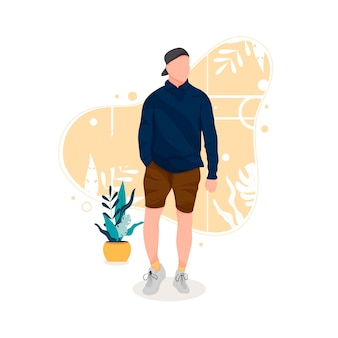 Portrait of man posing in stylish outfits flat design concept illustration eps 10