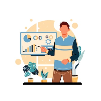 Portrait of man presentation illustration