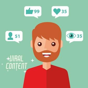 Portrait man viral content internet