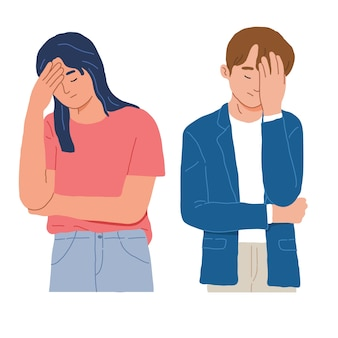 Portrait of a man and woman with facepalm gestures