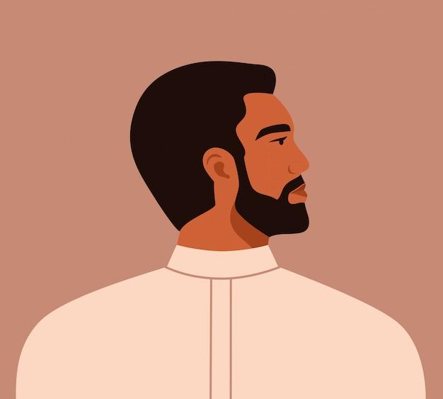 Portrait of a masculine arab man in profile. saudi male character.   illustration