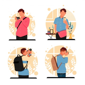 Portrait of men taking photo. flat design concept. illustration