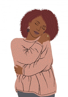 Portrait of nice african american woman hugging herself. oneself happy and positive, smiling confident. love yourself and your body positive, smiling confident. take time for your self.