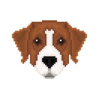 Портрет австралийского пинчера в стиле пиксель-арт. векторная иллюстрация.