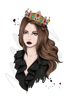 왕관에 아름 다운 여자의 초상화