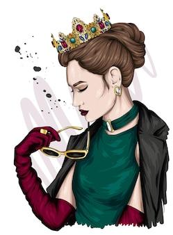 王冠の美しい少女の肖像画