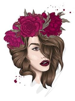 꽃 화 환에서 아름 다운 여자의 초상화