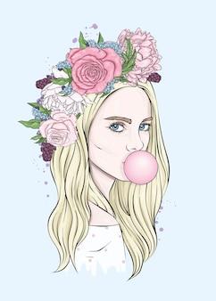 화환과 껌을 가진 아름다운 소녀의 초상화