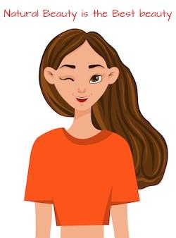 메이크업으로 아름 다운 여자의 초상화입니다. 만화 스타일입니다. 벡터 일러스트 레이 션.