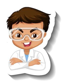 Портрет мальчика в научном платье, мультяшный персонаж, наклейка