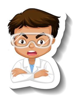 과학 가운 만화 캐릭터 스티커에 소년의 초상화