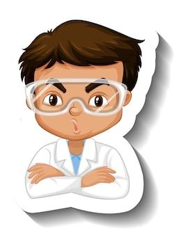 科学のガウンの漫画のキャラクターのステッカーの少年の肖像画