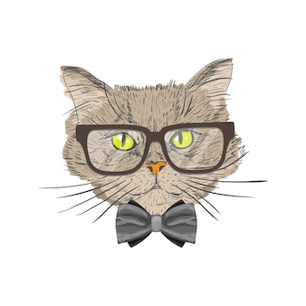 Портрет кошки с галстуком-бабочкой и очки хипстер с изображением изолированных векторных иллюстраций