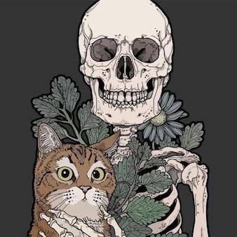 彼の猫と陽気なスケルトンの肖像画。抽象的なイラスト