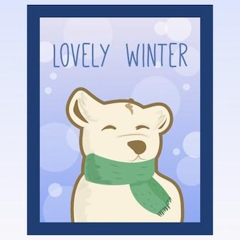 スカーフかわいいクマの肖像画