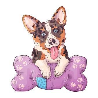 베개에 귀여운 코기 강아지의 초상화.